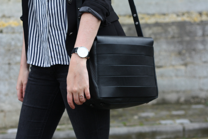 Outfit: striped blouse, daniel wellington watch, and other stories handbag