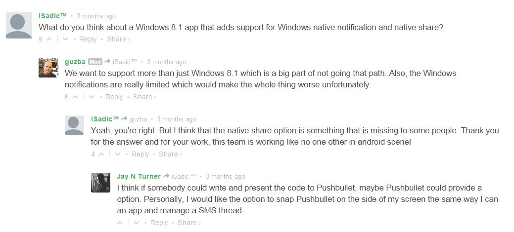 Pushbullet no win 8 share