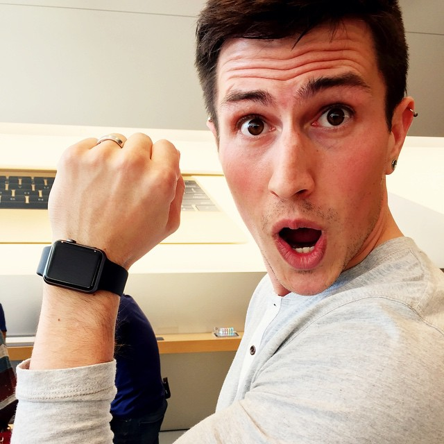 Someone is excited about the Apple Watch. #applewatch #apple #mac #watch #applestore #tech