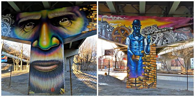 The Worker, Frozen Moments, Essencia Art Collective, StreetArToronto Underpass Program, Toronto, ON
