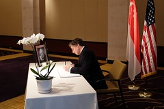 Deputy Secretary of State Tony Blinken pays his respects to Former Singapore Prime Minister Lee Kuan Yew at the Singapore Embassy in Washington, D.C., on March 25, 2015. [State Department photo/ Public Domain]
