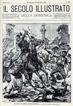 A print on the front page of the October 27, 1895 issue of Italian newspaper Il Secolo Illustrato depicting a scene from the massacre of Armenians in Constantinople.