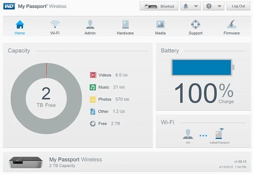 หน้า Dashboard ของ WD My Passport Wireless