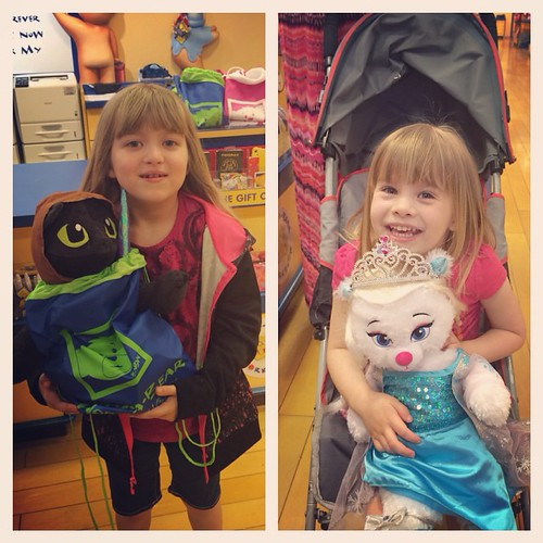 Solidifying her status as the Fun Aunt forever, my sister took the girls to Build-A-Bear while I had lunch with some co-workers. Catie got Toothless in a Jedi costume, Lucy got an Elsa bear.