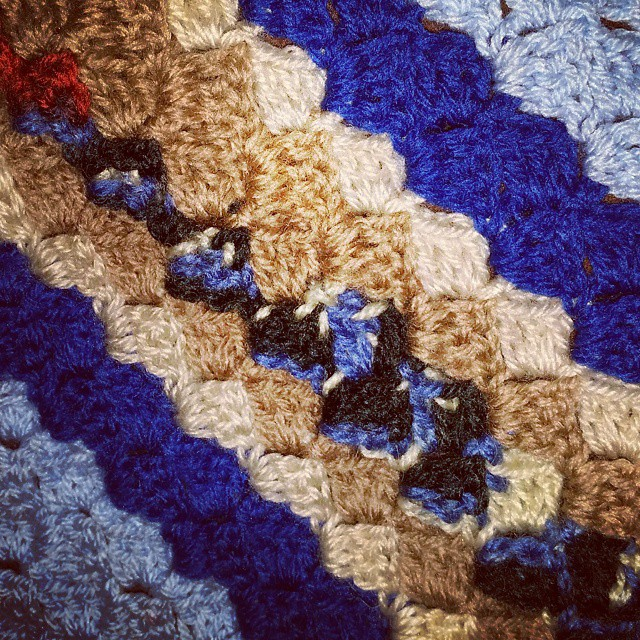 The start of a blanket for a baby boy...