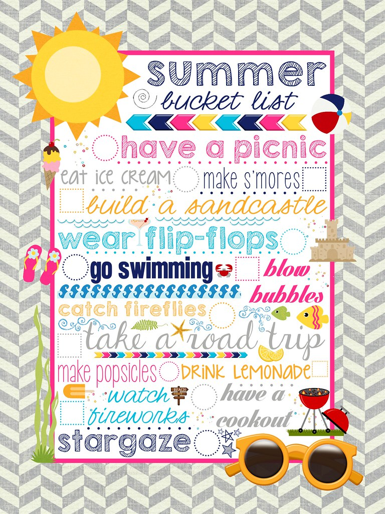 photograph regarding Summer Bucket List Printable identified as Free of charge Summertime Bucket Listing Printable - Take pleasure in Bakes Beneficial Cakes