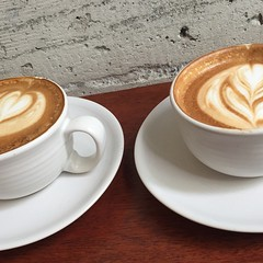 Sunday #cappuccinos for me and my gal, Alice (aka: my darling) #coffee #EquatorCoffees @equatorcoffees (May 17, 2015, CA)