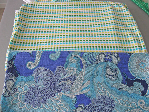 blue paisley cotton and dot knit