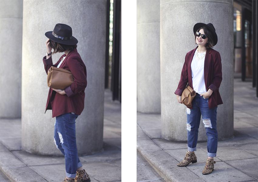blazer color marsala con boyfriend jeans myblueberrynightsblog