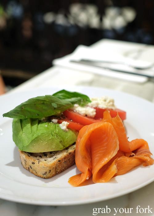 Tomato, avocado, feta and smoked salmon on sourdough at The Palace Tea Room, QVB, Sydney