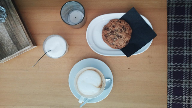 Milk chocolate chip cookie and cappuccino | No Apathy Allowed