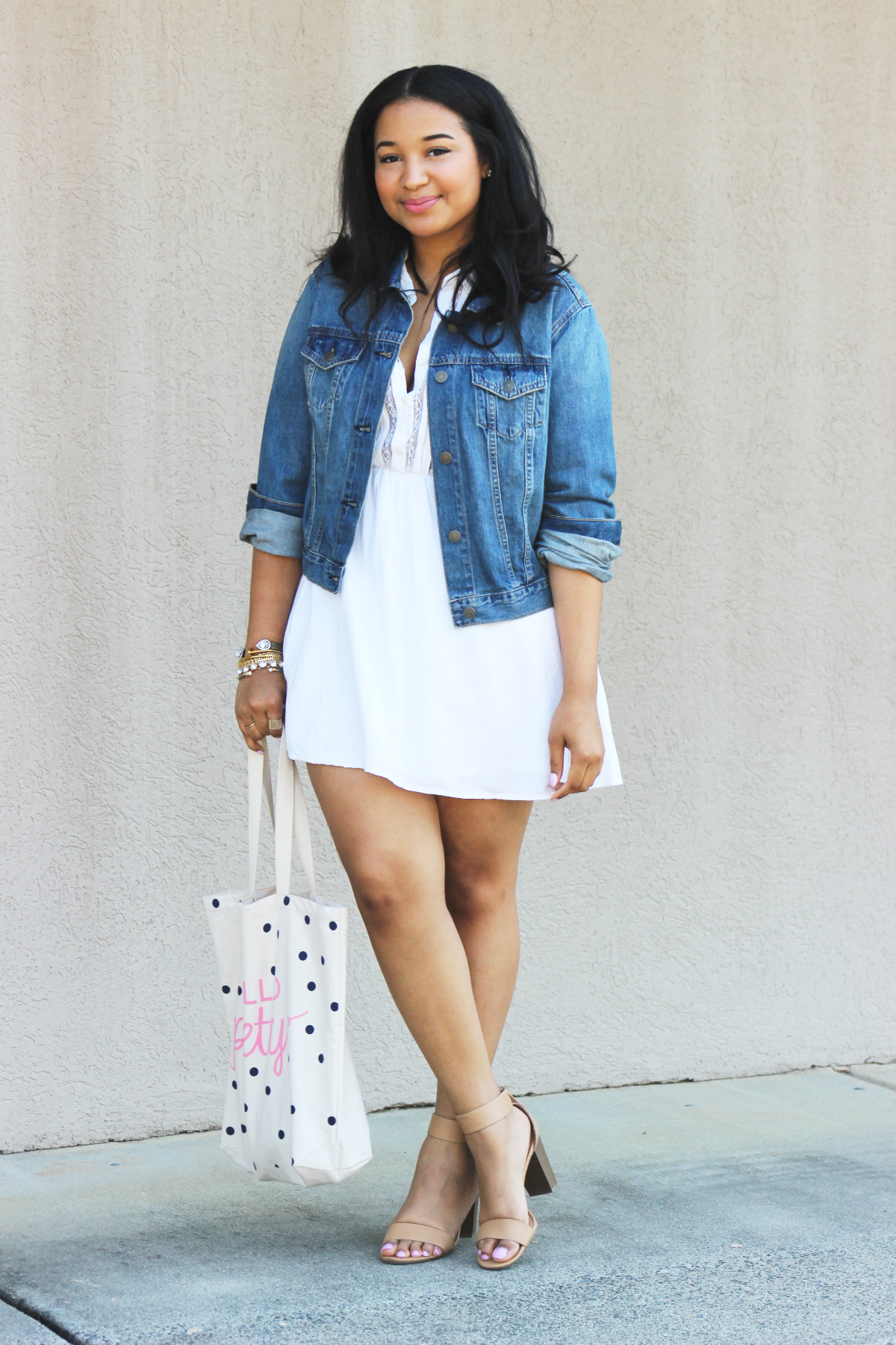 White Dress & Denim Jacket