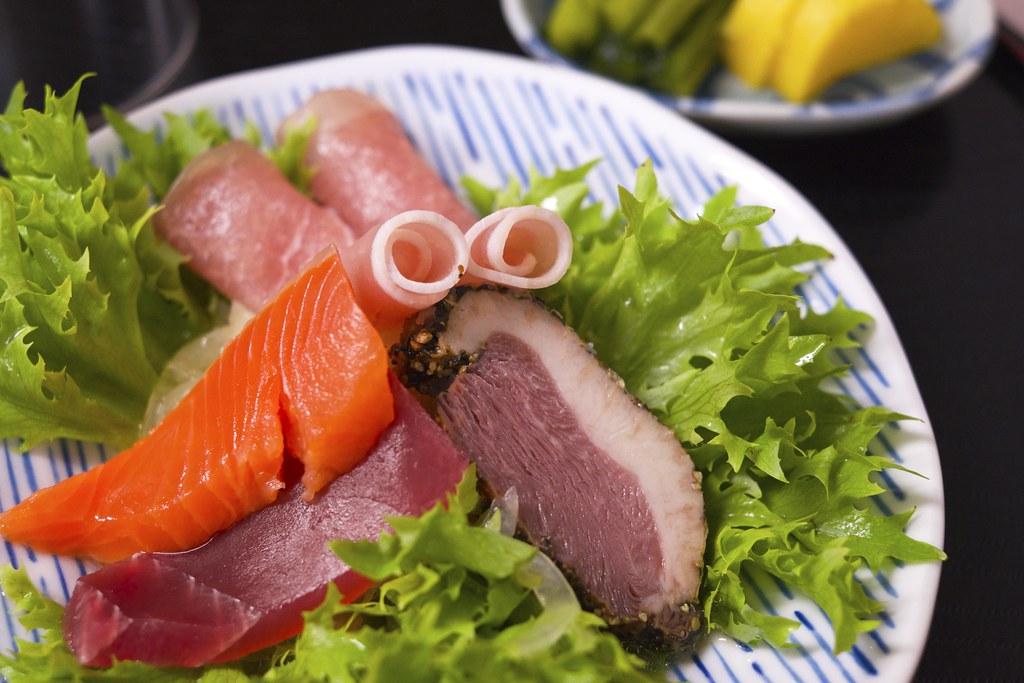 Appetizers / 鴨肉と生ハム、生魚の冷菜 / 乗瀬高原荘 (長野県小諸市)