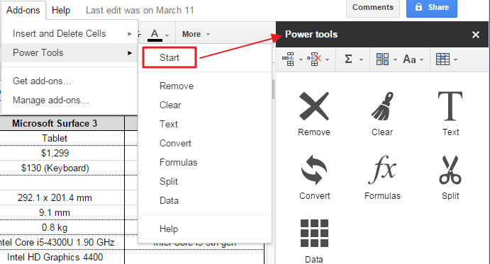 02 Start Power tools sidebar
