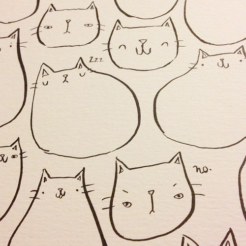 There are not enough hours. (Close up of a #cat thing I'm working on.) #illustration #wip