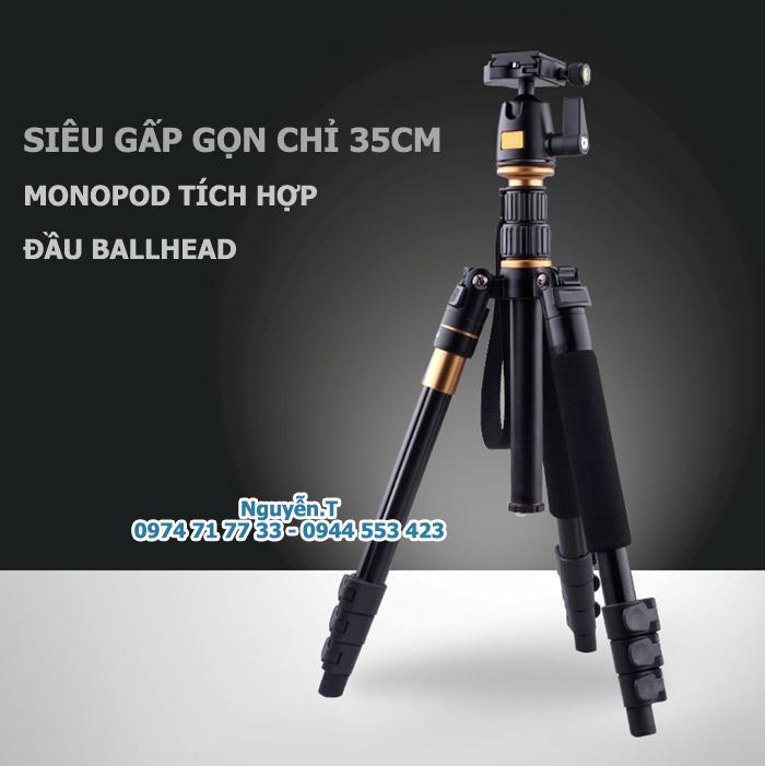 Tripod chân máy ảnh gấp gọn 2in1 QZ-550 kèm MONOPOD