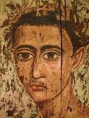 Encaustic Mummy Portrait of a young Man wearing a gold fillet Hawara Egypt Roman Period 1st - 2nd century CE