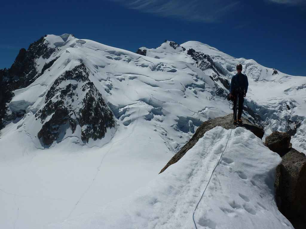 Great view of the Trois monts route to Mont Blanc from the top of the Cosmiques