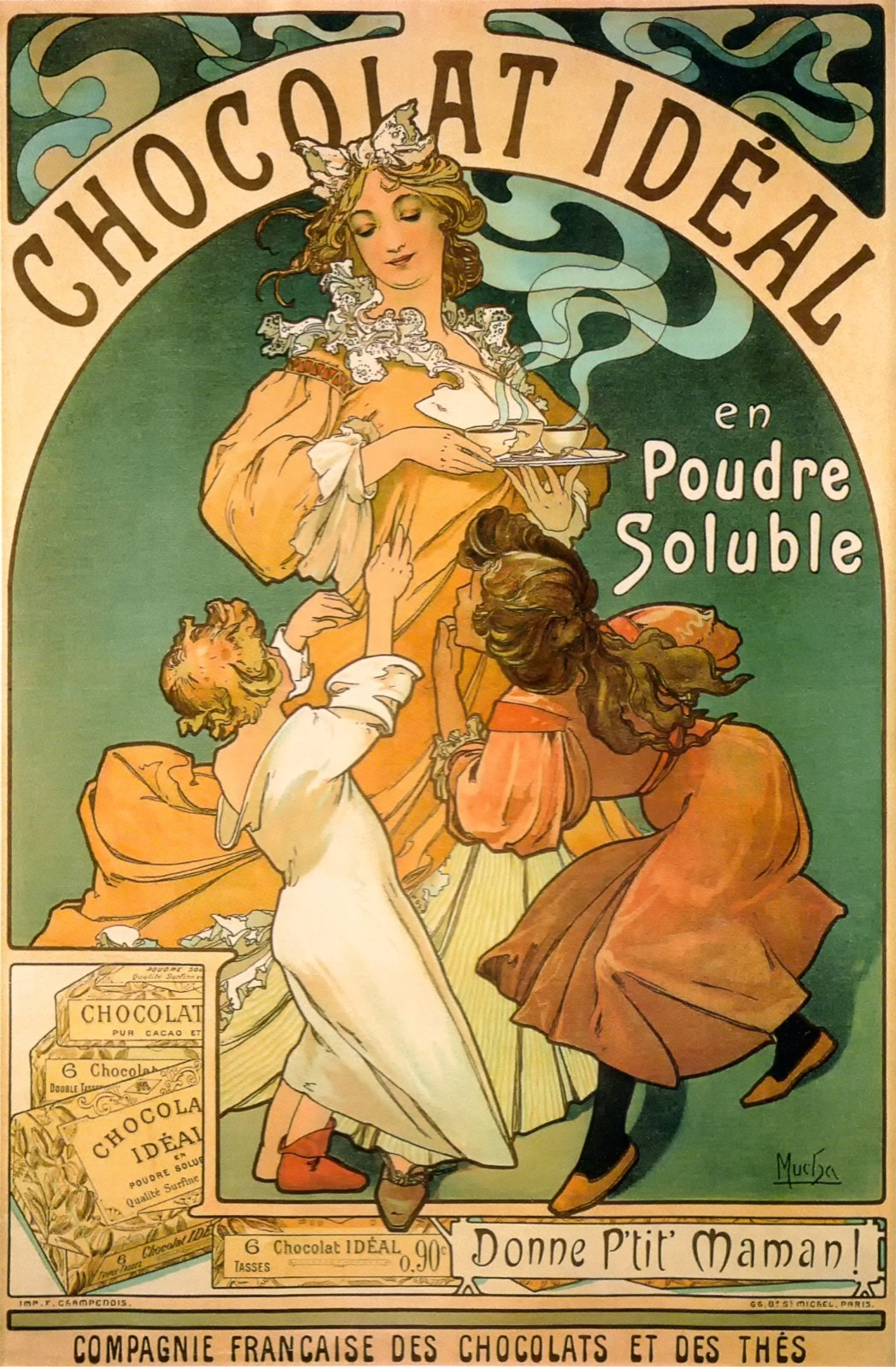 Advertising poster for Chocolat Idéal by Alfons Mucha