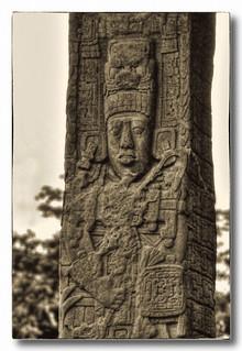 Quiriguá GCA - Stela E, depicting K'ak' Tiliw Chan Yopaat holding a God K sceptre 04