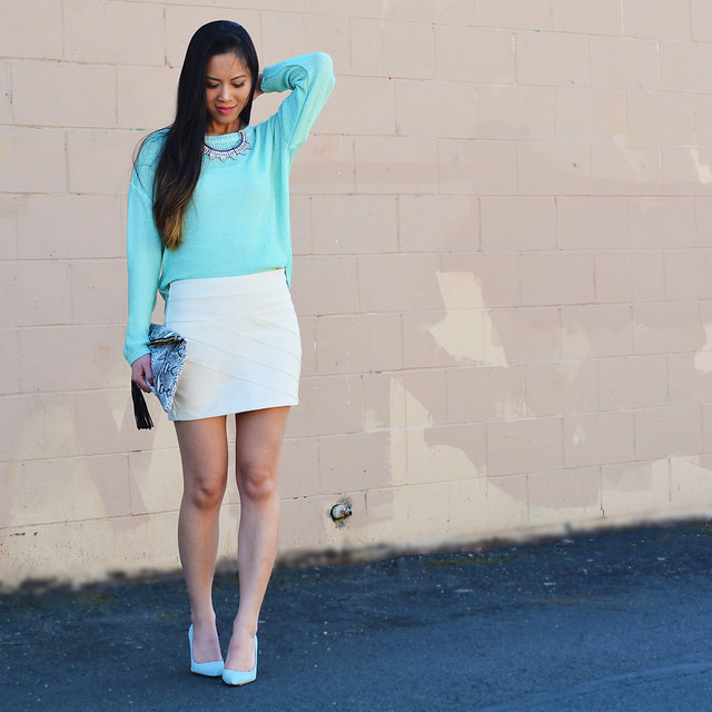 mint loose knit sweater, white leather skirt, J. Crew mint pumps shoes - spring outfit