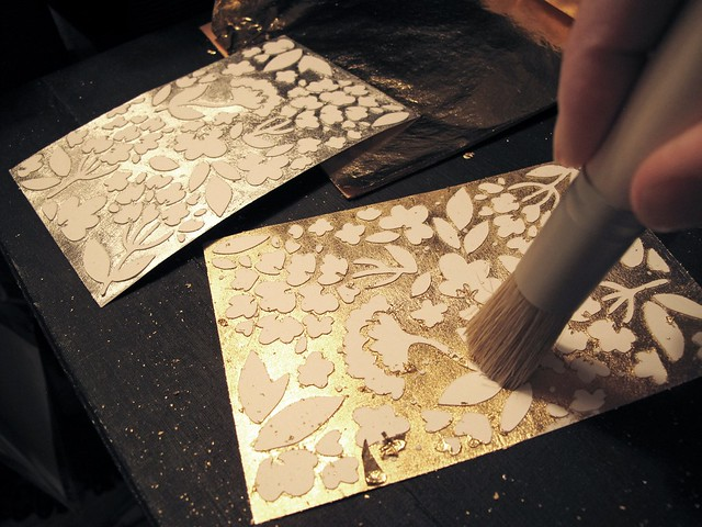 step 2 lay leafing foil on sticky side press into it and brush away excess