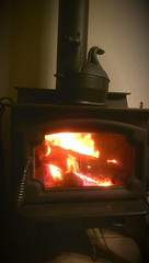 wood-burning stove, fireplace, lighting, hearth,
