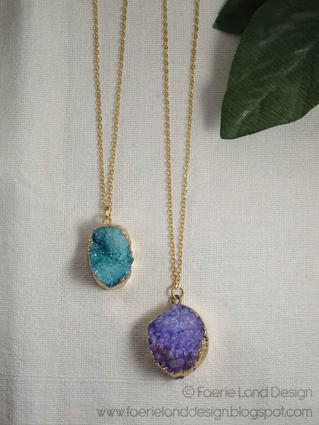 Collane agata druzy by Faerie Land Design