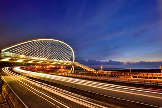 新竹香山~豎琴橋車軌~ Bridge Light Trail Sunset