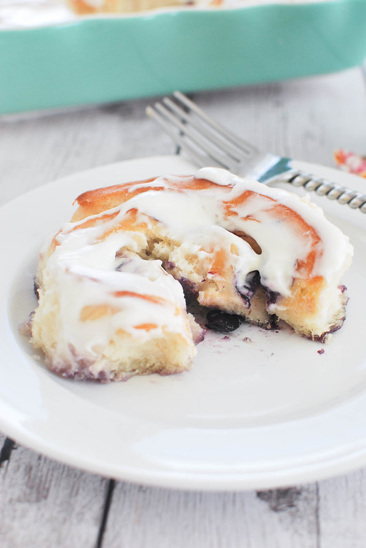 Blueberry Lemon Sweet Rolls - delicious sweet rolls filled with lemon zest and blueberries and topped with a lemon cream cheese glaze!