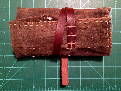 Hand-sewn waxed canvas pipe roll pouch
