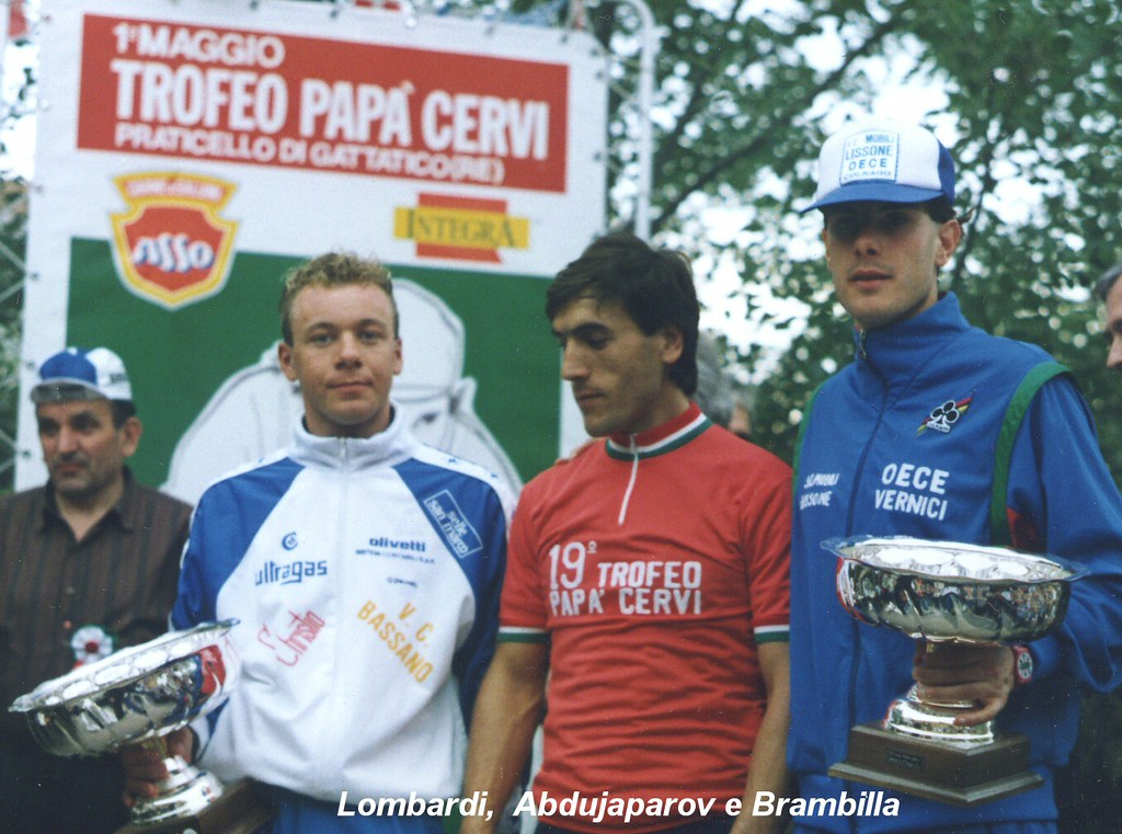 Trofeo Papà Cervi 1989 - podio. Da sinistra: Lombardi, Abdujaparov e Brambilla
