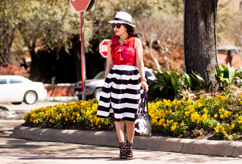cute & little blog | petite fashion | red floral blouse, black white striped midi skirt, caged sandals, panama hat, chanel quilted tote | spring outfit