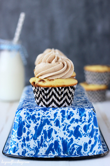 Quick and easy Cinnamon Roll Cupcakes. All your favorite cinnamon roll flavors rolled up into a cupcake! A vanilla cupcake with a brown sugar streusel and a brown sugar cinnamon frosting.