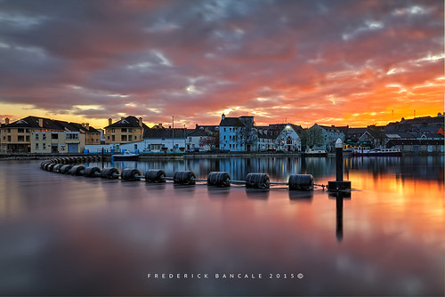 River Shannon , Athlone Town at sunset