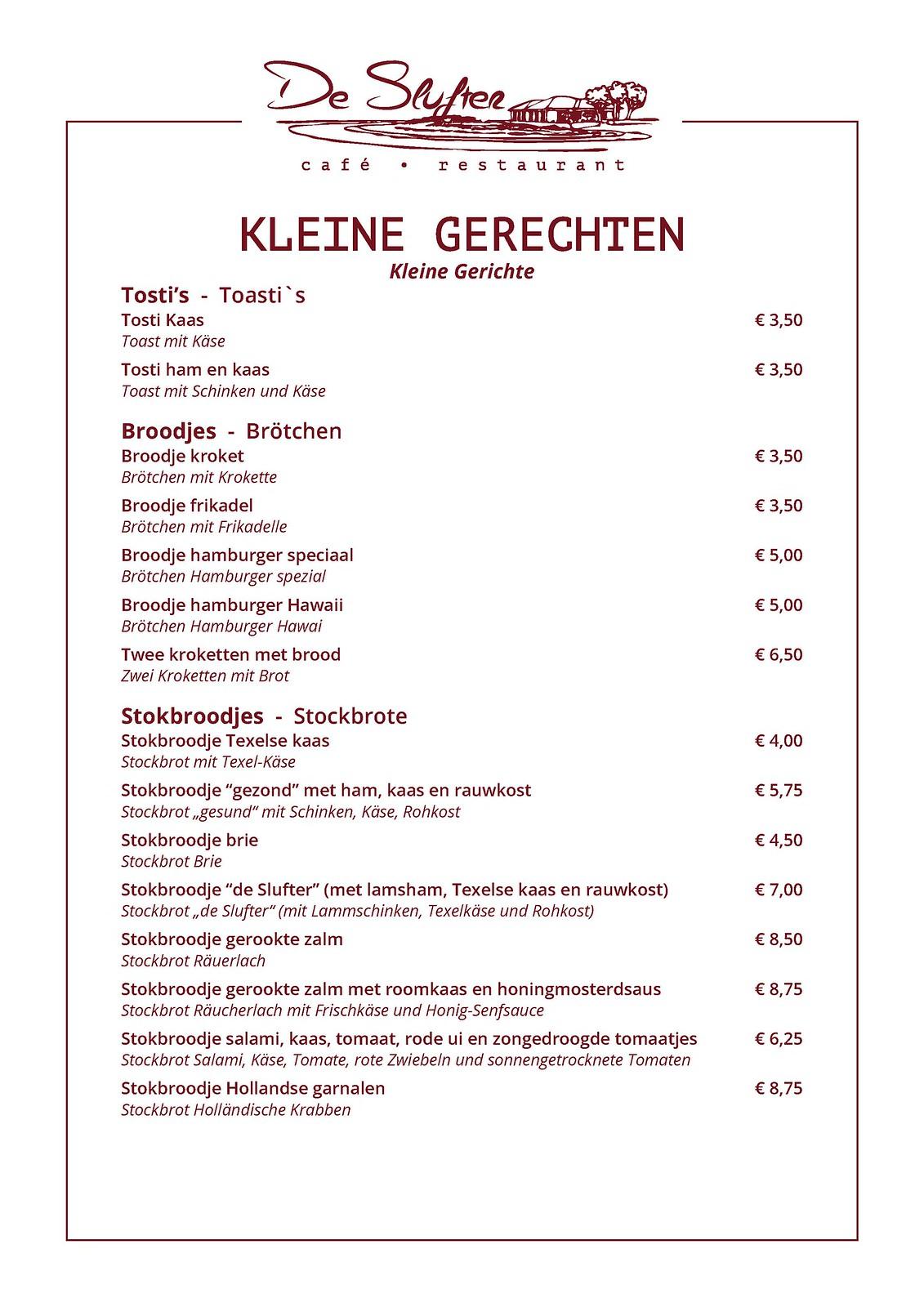 Menukaart Cafe Restaurant De Slufter