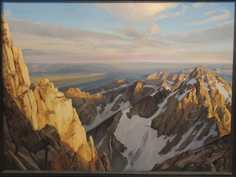 "Oil on linen | 54 x 72 inches | Notes: One year I climbed the long East Ridge Route of the Grand with my son, Jason, and a friend, Kent. Coming down from the summit I did an evening pastel at the Upper Saddle. In the distance is the Middle Teton, and on the left, the South Ridge or ""Exum Ridge"" of the Grand."