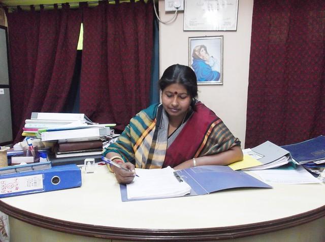 Rahima Khatun, Secretary of Nari-O-Sishu Kalyan Kendra in her office at Khaskhamar, Howrah