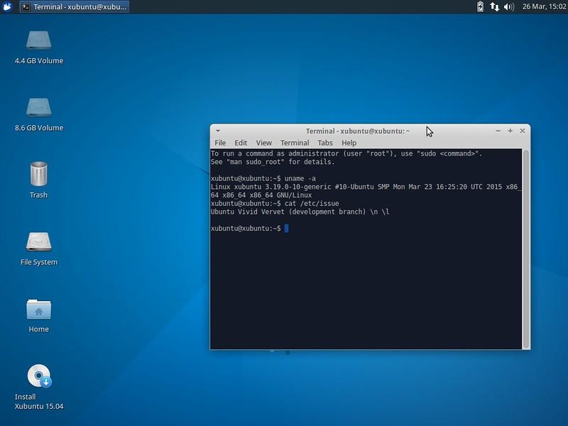 Окно терминала в новой версии Xubuntu