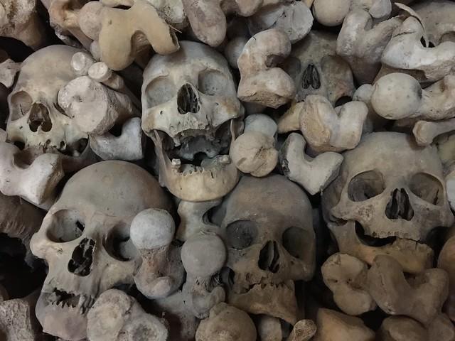 Huesos y calaveras en el osario de Wamba (Valladolid)