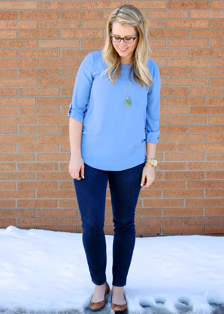 periwinkle blouse and pendant with jeans