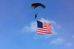 parachute, parachuting, flag of the united states, flag, extreme sport, blue,