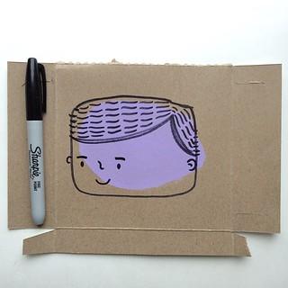Ralphie #doodle ... #sharpie #boy #lavender on #cardboard