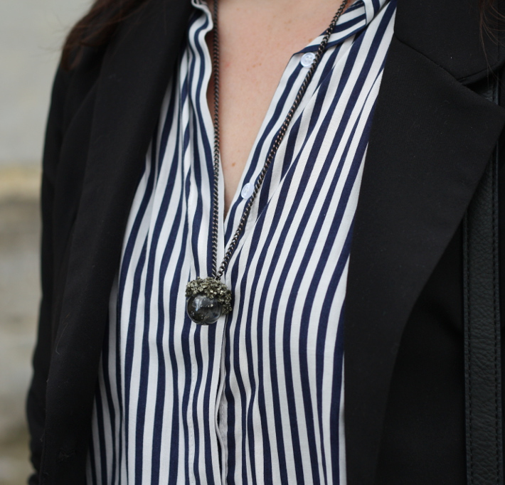 outfit: striped blouse, the serpents club necklace
