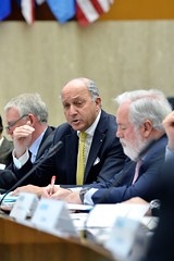 French Foreign Minister Laurent Fabius, who also is serving as President of the United Nations Framework Convention on Climate Change (UNFCCC) 21st Conference of Parties (COP21) in Paris in December 2015, joins U.S. Secretary of State John Kerry at the Major Economies Forum on Energy and Climate at the U.S. Department of State in Washington, D.C., on April 19, 2015. [State Department photo/ Public Domain]