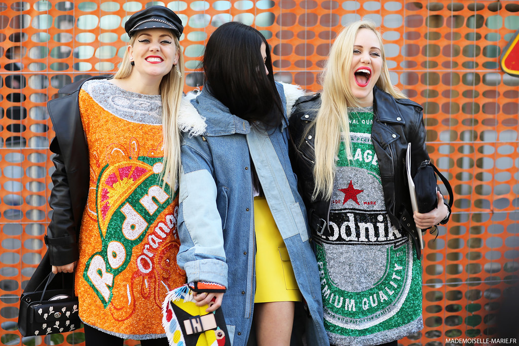 Gilda Ambrosio & the Beckerman twins, street style, Milan fashion week