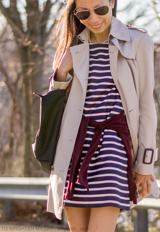 trench coat, striped dress, burgundy sweater