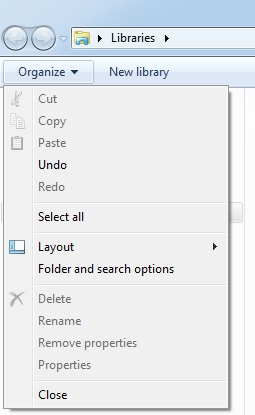 windows explorer option