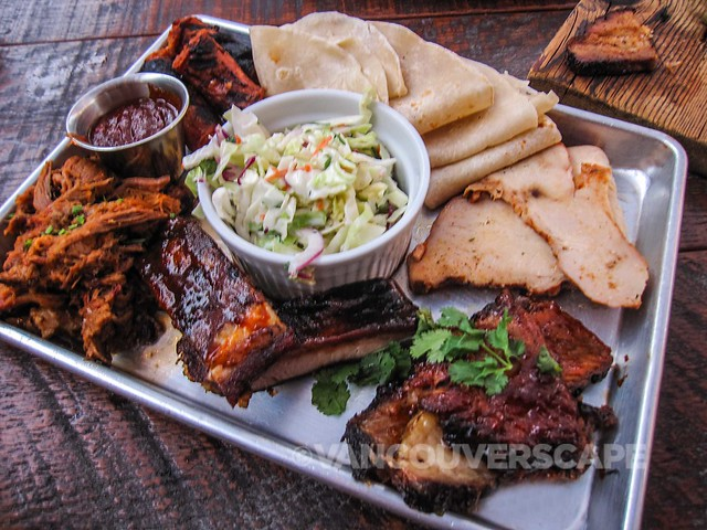 BBQ Sampler: Pulled pork, St. Louis ribs, beef brisket, smoked organic turkey breast, Schreiner's hot links