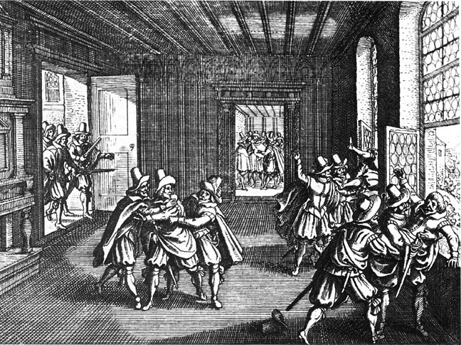 Woodcut of the Second Prague Defenestration by Matthäus Merian